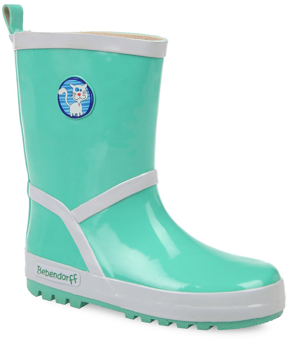 Сапоги резиновые детские. 111543111543Прелестные резиновые сапоги от Bebendorff - идеальная обувь в дождливую погоду для вашего ребенка. Сапоги, выполненные из резины, оформлены сбоку названием бренда, на голенище - накладкой с изображением кота. Внутренняя поверхность из хлопка и съемная стелька из EVA с текстильной поверхностью комфортны при ходьбе. Ярлычок на заднике предназначен для удобства обувания. Подошва с протектором гарантируют отличное сцепление с любой поверхностью. Резиновые сапоги - необходимая вещь в гардеробе каждого ребенка.