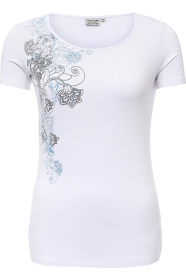 ФутболкаB16-12059_200Стильная женская футболка Finn Flare, выполненная из высококачественной эластичной вискозы, обладает высокой теплопроводностью, воздухопроницаемостью и гигроскопичностью, позволяет коже дышать. Модель с короткими рукавами и круглым вырезом - идеальный вариант для создания модного образа. Футболка оформлена принтом с изображением оригинального цветочного узора и декорирована стразами. Такая модель подарит вам комфорт в течение всего дня и послужит замечательным дополнением к вашему гардеробу.