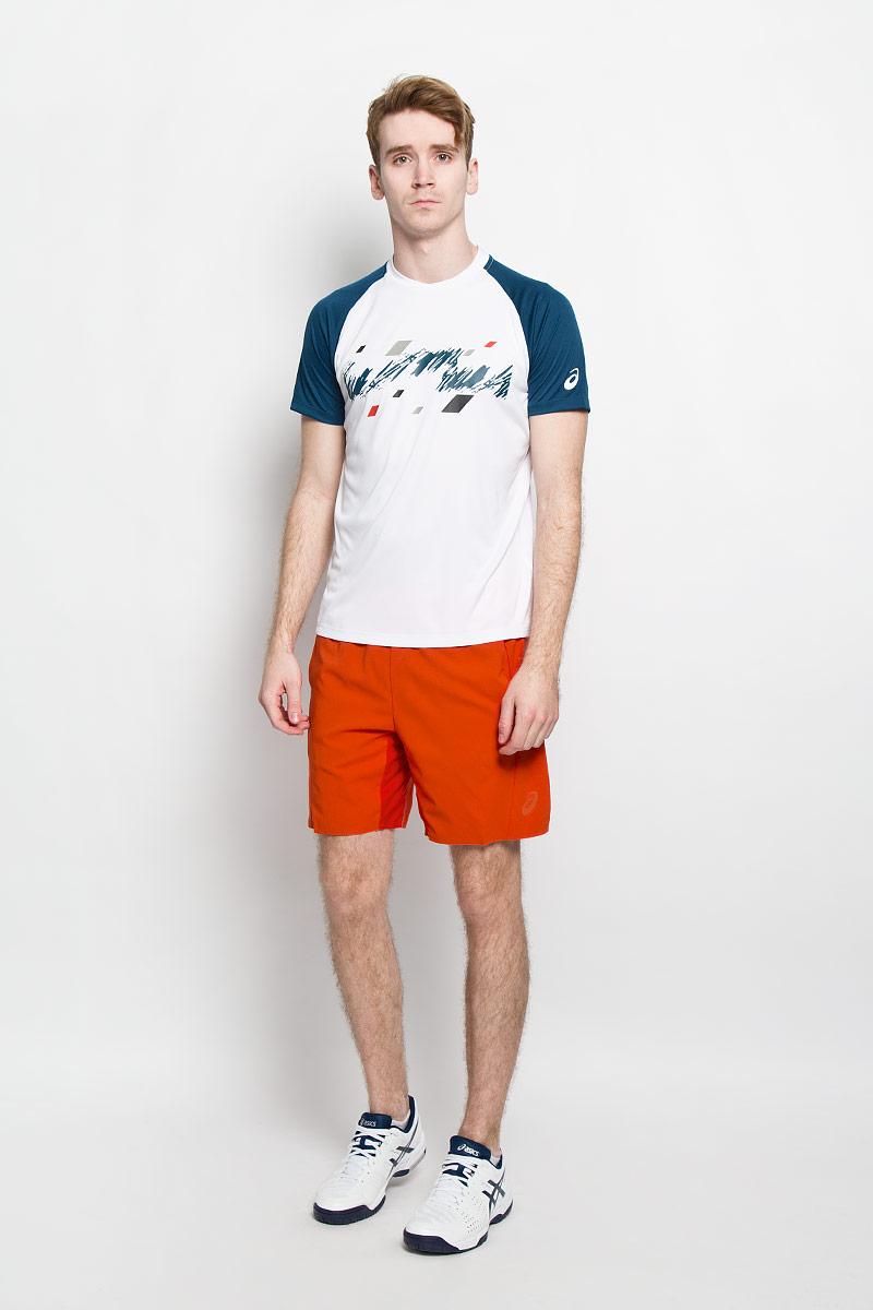 Футболка для тенниса мужская Club Graphic SS Top130235-8107Стильная мужская футболка для тенниса Asics Club Graphic SS Top, выполненная из эластичного полиэстера, обладает высокой теплопроводностью, воздухопроницаемостью и гигроскопичностью и великолепно отводит влагу, оставляя тело сухим даже во время интенсивных тренировок. Такая футболка превосходно подойдет для занятий спортом и активного отдыха. Модель с короткими рукавами реглан и круглым вырезом горловины - идеальный вариант для занятий спортом. Рукава реглан обеспечат свободу движений, а специальная сетчатая вставка на спинке - необходимую циркуляцию воздуха. Футболка дополнена светоотражающими деталями. Такая модель подарит вам комфорт в течение всего дня и послужит замечательным дополнением к вашему гардеробу.