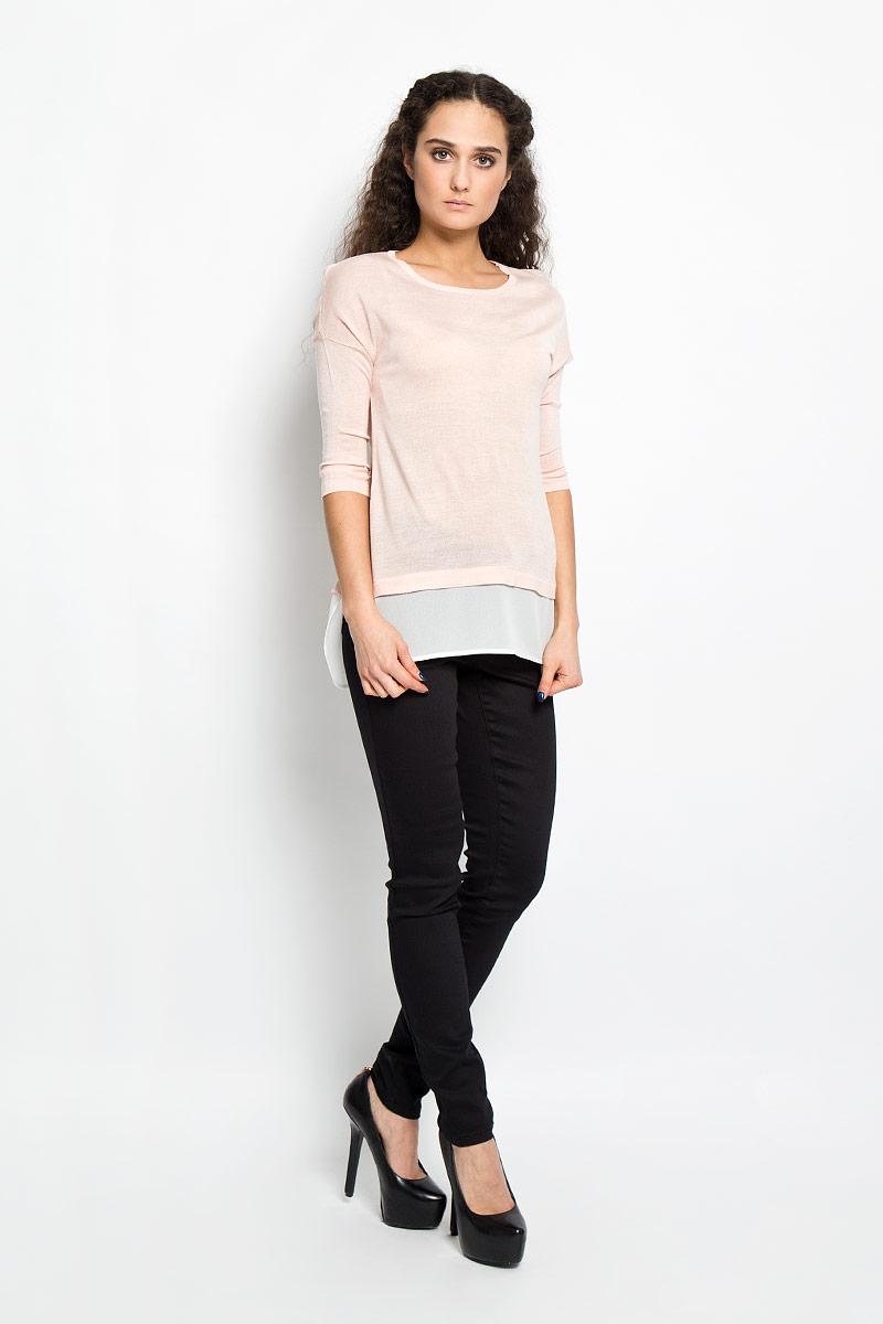 10156164 378Потрясающий женский пуловер Broadway Edelia свободного кроя выполнен из вискозы с полиакрилом, а низ из 100% полиэстера. Необычайно мягкий и приятный на ощупь, не сковывает движения, обеспечивая наибольший комфорт. Модель с рукавами-кимоно и круглым вырезом горловины. Низ пуловера дополнен полупрозрачной тканью, что создает эффект 2 в 1. Горловина изделия связана резинкой. В таком пуловере вы будете выглядеть эффектно и стильно.