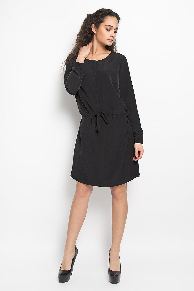 10156182_373Стильное платье Broadway поможет создать оригинальный женственный образ. Платье на подкладке выполнено из полиэстера, приятное к телу, не сковывает движения и хорошо вентилируется. Модель с круглым вырезом горловины и длинными рукавами застегивается спереди на пуговицы, скрытые за планкой. Манжеты рукавов также имеют застежки-пуговицы. На талии платье дополнено тонким текстильным поясом. Лаконичный дизайн и совершенство стиля подчеркнут вашу индивидуальность.