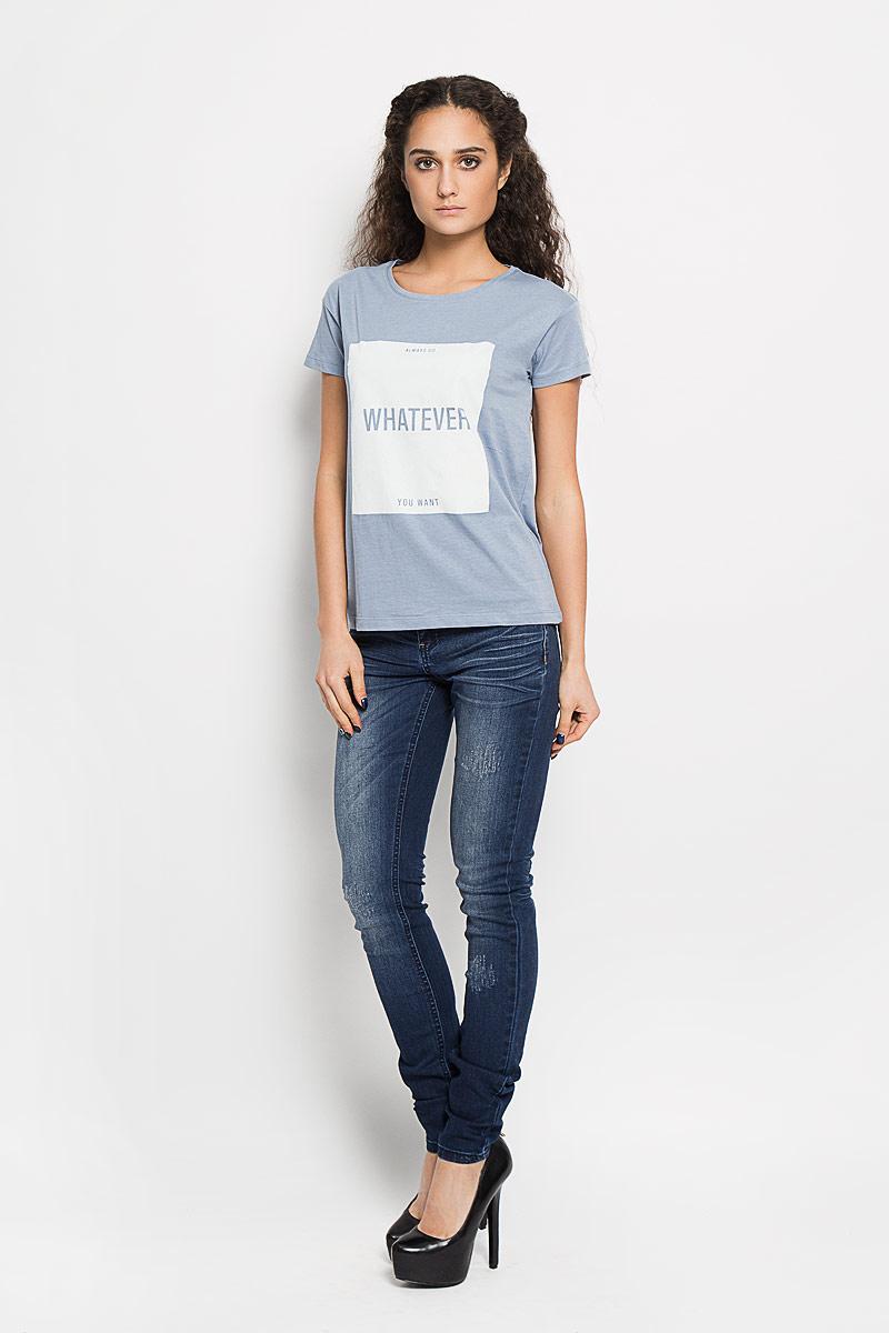 Футболка10156201 04AСтильная женская футболка Broadway Charlize, выполненная из высококачественного хлопка, обладает высокой воздухопроницаемостью и гигроскопичностью, позволяет коже дышать. Модель с короткими рукавами и круглым вырезом горловины спереди оформлена квадратной термоаппликацией с надписью Always Do Whatever You Want. Эта футболка - идеальный вариант для создания эффектного образа.