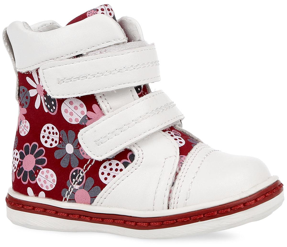 168213Модные ботинки от PlayToday заинтересуют вашу девочку с первого взгляда. Модель, выполненная из искусственной кожи, оформлена цветочным принтом. Ремешки с застежками-липучками надежно зафиксирует изделие на ножке. Подкладка выполнена из натуральной кожи и текстиля с содержанием хлопка 80%. Стелька из материала EVA с поверхностью из натуральной кожи дополнена супинатором с перфорацией, который обеспечивает правильное положение ноги ребенка при ходьбе, предотвращает плоскостопие. Подошва с рифление гарантирует идеальное сцепление с любой поверхностью. Такие ботинки займут достойное место в гардеробе вашей девочки.
