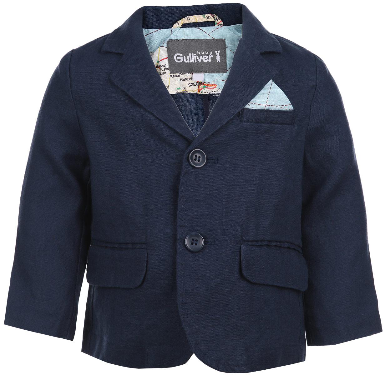 Пиджак для мальчика Большое путешествие. 116GBBC4801116GBBC4801Льняной пиджак для мальчика Gulliver Baby Большое путешествие станет стильным дополнением к гардеробу малыша. Изготовленный из высококачественного материала, он мягкий и приятный на ощупь, не сковывает движения и позволяет коже дышать, не раздражает нежную кожу ребенка, обеспечивая ему наибольший комфорт. Пиджак с воротничком с лацканами застегивается на пластиковые пуговицы. Манжеты дополнены декоративными пуговицами. Спереди имеется имитация карманов. Сзади предусмотрена шлица. В таком пиджачке ваш маленький мужчина будет выглядеть трогательно и забавно и украсит любой праздник, семейное торжество или прогулку!