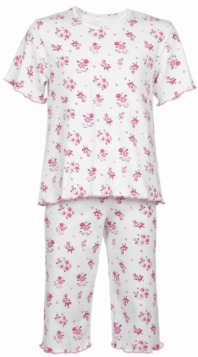 Пижама5581_ОЗ14_цветыОчаровательная пижама для девочки Трон-плюс, состоящая из футболки и удлиненных шорт, идеально подойдет ребенку для отдыха и сна. Модель выполнена из натурального хлопка, мягкая и приятная к телу, не сковывает движения, хорошо пропускает воздух и не раздражает нежную и чувствительную кожу ребенка. Футболка с короткими рукавами имеет круглый вырез горловины, оформленный бейкой. Удлиненные шорты на талии дополнены мягкой эластичной резинкой, благодаря чему они не сдавливают животик ребенка и не сползают. Пижама оформлена цветочным принтом по всей поверхности. Рукава, низ футболки и низ шорт имеют волнистые края, обработанные декоративным швом. В такой пижаме ваша маленькая принцесса будет чувствовать себя комфортно и уютно.