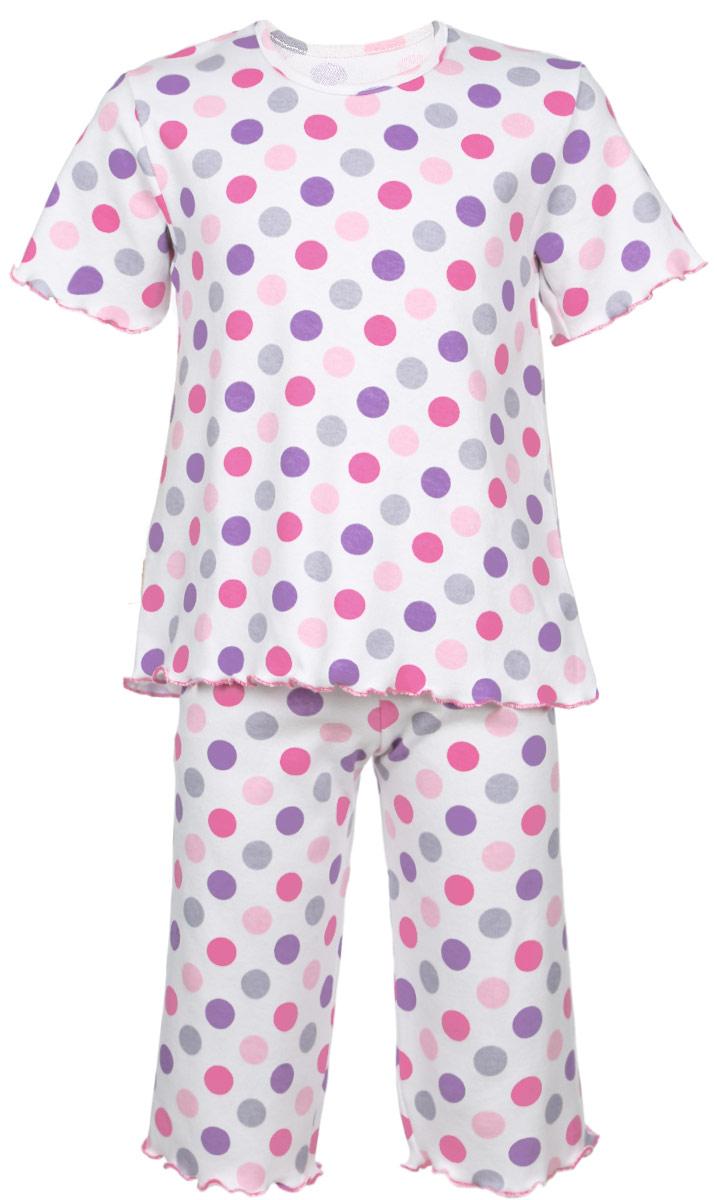 5581_ВЛ15_горохОчаровательная пижама для девочки Трон-плюс, состоящая из футболки и удлиненных шорт, идеально подойдет ребенку для отдыха и сна. Модель выполнена из натурального хлопка, мягкая и приятная к телу, не сковывает движения, хорошо пропускает воздух и не раздражает нежную и чувствительную кожу ребенка. Футболка с короткими рукавами имеет круглый вырез горловины, оформленный бейкой. Удлиненные шорты на талии дополнены мягкой эластичной резинкой, благодаря чему они не сдавливают животик ребенка и не сползают. Пижама оформлена принтом в горох по всей поверхности. Рукава, низ футболки и низ шорт имеют волнистые края, обработанные декоративным швом. В такой пижаме ваша маленькая принцесса будет чувствовать себя комфортно и уютно.