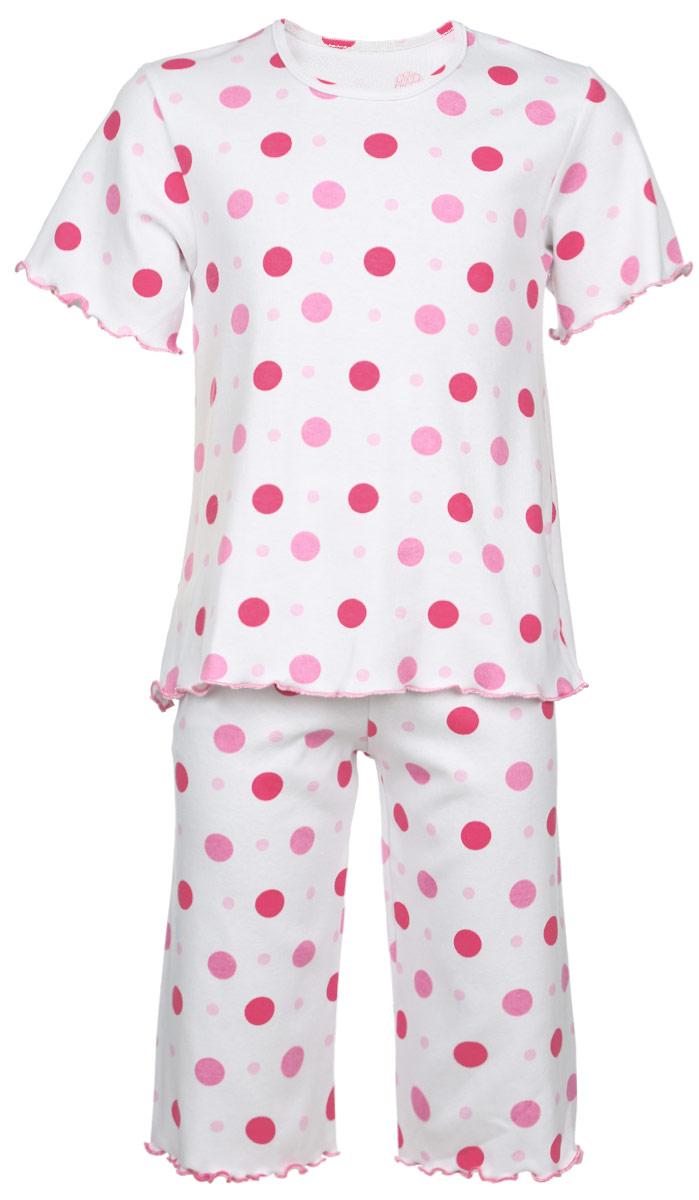 Пижама5581_ОЗ14_горохОчаровательная пижама для девочки Трон-плюс, состоящая из футболки и удлиненных шорт, идеально подойдет ребенку для отдыха и сна. Модель выполнена из натурального хлопка, мягкая и приятная к телу, не сковывает движения, хорошо пропускает воздух и не раздражает нежную и чувствительную кожу ребенка. Футболка с короткими рукавами имеет круглый вырез горловины, оформленный бейкой. Удлиненные шорты на талии дополнены мягкой эластичной резинкой, благодаря чему они не сдавливают животик ребенка и не сползают. Пижама оформлена принтом в горох по всей поверхности. Рукава, низ футболки и низ шорт имеют волнистые края, обработанные декоративным швом. В такой пижаме ваша маленькая принцесса будет чувствовать себя комфортно и уютно.