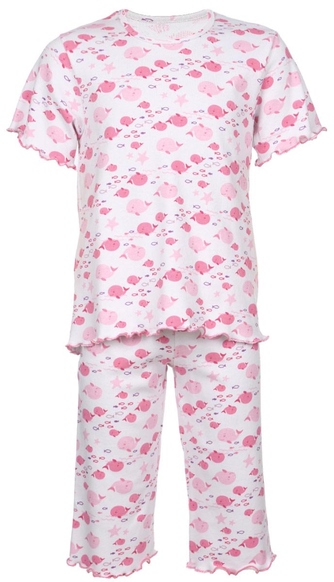 Пижама5581_ВЛ15_китОчаровательная пижама для девочки Трон-плюс, состоящая из футболки и удлиненных шорт, идеально подойдет ребенку для отдыха и сна. Модель выполнена из натурального хлопка, мягкая и приятная к телу, не сковывает движения, хорошо пропускает воздух и не раздражает нежную и чувствительную кожу ребенка. Футболка с короткими рукавами имеет круглый вырез горловины, оформленный бейкой. Удлиненные шорты на талии дополнены мягкой эластичной резинкой, благодаря чему они не сдавливают животик ребенка и не сползают. Пижама оформлена принтом на морскую тематику. Рукава, низ футболки и низ шорт имеют волнистые края, обработанные декоративным швом. В такой пижаме ваша маленькая принцесса будет чувствовать себя комфортно и уютно.