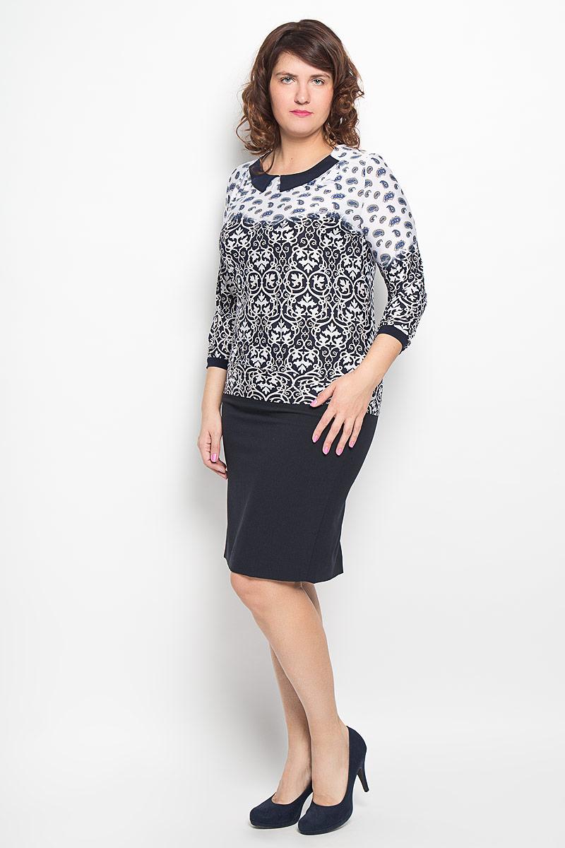 Блузка760мЖенская блузка Milana Style, выполненная из высококачественного материала, - находка для современной женщины, желающей выглядеть стильно и модно. Модель с круглым вырезом горловины и длинными рукавами оформлена оригинальным принтом. Горловина декорирована имитацией отложного воротника. Рукава дополнены эластичными манжетами. Такая модель несомненно вам понравится и послужит отличным дополнением к вашему гардеробу.