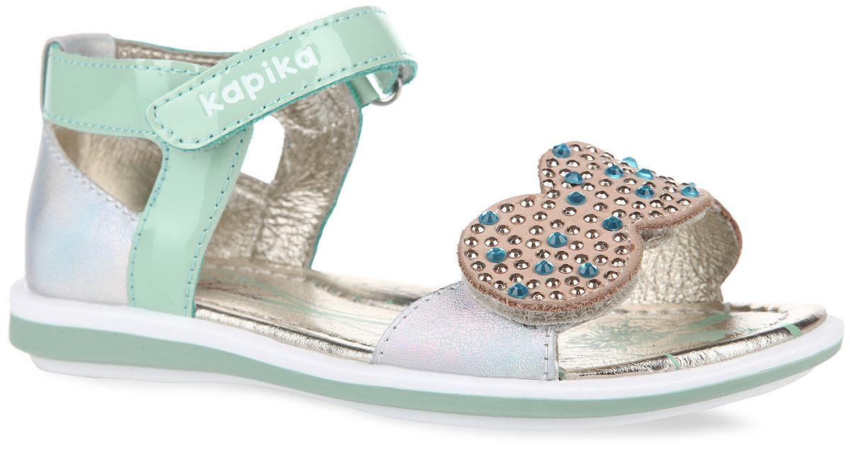 Сандалии для девочки. 32193-232193-2Прелестные сандалии от Kapika очаруют вашу девочку с первого взгляда! Модель выполнена из натуральной кожи и оформлена на нижнем ремешке россыпью страз, на верхнем - тиснением в виде названия бренда. Ремешки на застежках-липучках обеспечивают оптимальную посадку обуви на ноге, не давая ей смещаться из стороны в сторону и назад. Стелька из натуральной кожи дополнена супинатором, который обеспечивает правильное положение ноги ребенка при ходьбе, предотвращает плоскостопие. Подошва с рифлением в виде цветочного рисунка гарантирует идеальное сцепление с любой поверхностью. Стильные сандалии поднимут настроение вам и вашей дочурке!