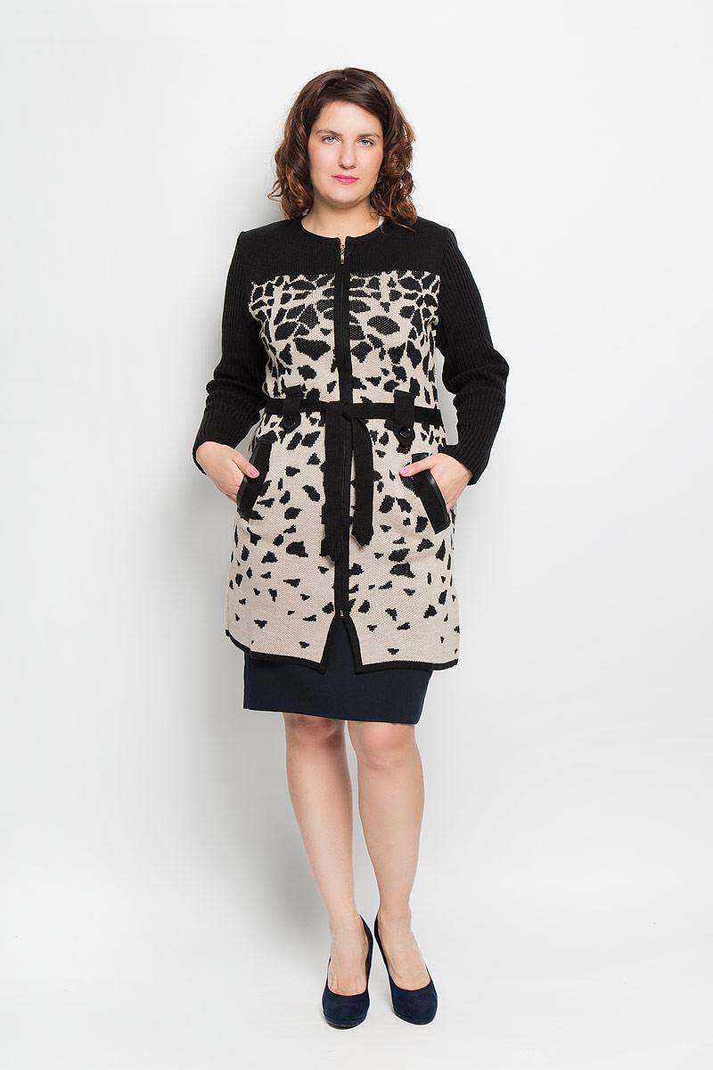 Кардиган женский. 583583Стильный вязаный женский кардиган Milana Style - отличный вариант для прохладной погоды. Модель универсальна, прекрасно подходит для повседневного ношения и хорошо смотрится как с брюками, так и с юбками. Благодаря составу, в который входит ПАН и шерсть, изделие теплое и приятное на ощупь, не сковывает движения, обеспечивая комфорт. Кардиган с круглым вырезом горловины и длинными рукавами оформлен оригинальным узором и застегивается на застежку-молнию. Рукава связаны резинкой. Линию талии подчеркивает вязаный пояс, продетый через шлевки, декорированные купными пуговицами. Модель дополнена прорезными карманами спереди, боковыми разрезами и плечиками. Карманы и шлевки украшены окантовкой под кожу. Этот эффектный кардиган подарит вам комфорт и послужит замечательным дополнением к вашему гардеробу.