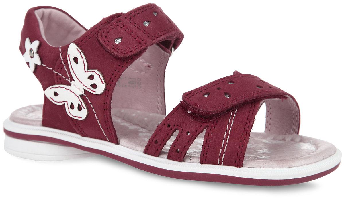 Сандалии для девочки. 3223432234-1Очаровательные сандалии от Kapika покорят вашу девочку с первого взгляда! Модель выполнена из натуральной кожи и оформлена на ремешках декоративной перфорацией, сбоку - аппликацией в виде бабочки. Ремешки на застежках-липучках обеспечивают оптимальную посадку обуви на ноге, не давая ей смещаться из стороны в сторону и назад. Стелька из натуральной кожи, оформленная принтом с изображением бабочек, дополнена супинатором. Супинатор обеспечивает правильное положение ноги ребенка при ходьбе, предотвращает плоскостопие. Рифленая поверхность подошвы и каблука гарантирует отличное сцепление с любыми поверхностями. Стильные сандалии поднимут настроение вам и вашей дочурке!