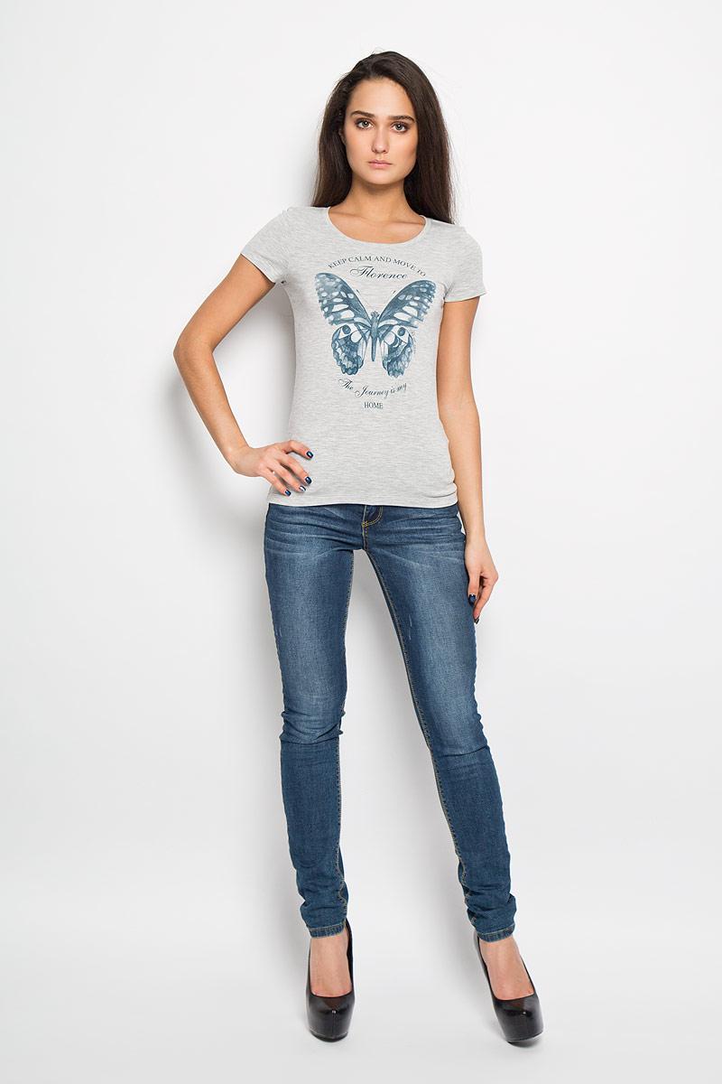 Футболка12380/Butterfly_160075Стильная женская футболка F5, изготовленная из вискозы с добавление полиэстера и эластана, необычайно мягкая и приятная на ощупь, не сковывает движения, обеспечивая наибольший комфорт. Модель слегка приталенного кроя с круглым вырезом горловины и короткими рукавами, оформлена оригинальным принтом с изображением бабочки и надписями на английском языке. Футболка F5 - отличный вариант для создания образа в стиле Casual.