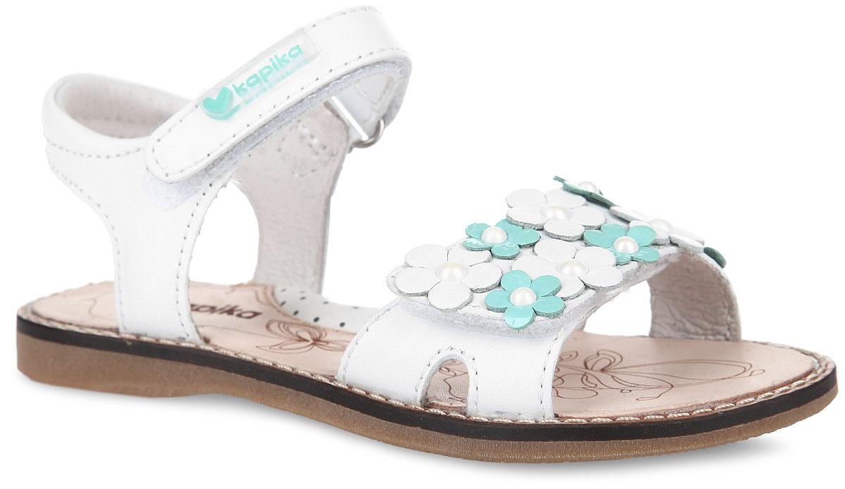 Сандалии для девочки. 3219532195-1Прелестные сандалии от Kapika очаруют вашу девочку с первого взгляда! Модель выполнена из натуральной кожи. Два ремешка на застежках-липучках обеспечивают оптимальную посадку обуви на ноге, не давая ей смещаться из стороны в сторону и назад. Передний ремешок декорирован аппликациями в виде цветов. Сердцевины цветков украшены бусинами. Стелька из натуральной кожи дополнена супинатором, который обеспечивает правильное положение ноги ребенка при ходьбе, предотвращает плоскостопие. Рифленая поверхность подошвы гарантирует отличное сцепление с любыми поверхностями. Стильные сандалии поднимут настроение вам и вашей дочурке!
