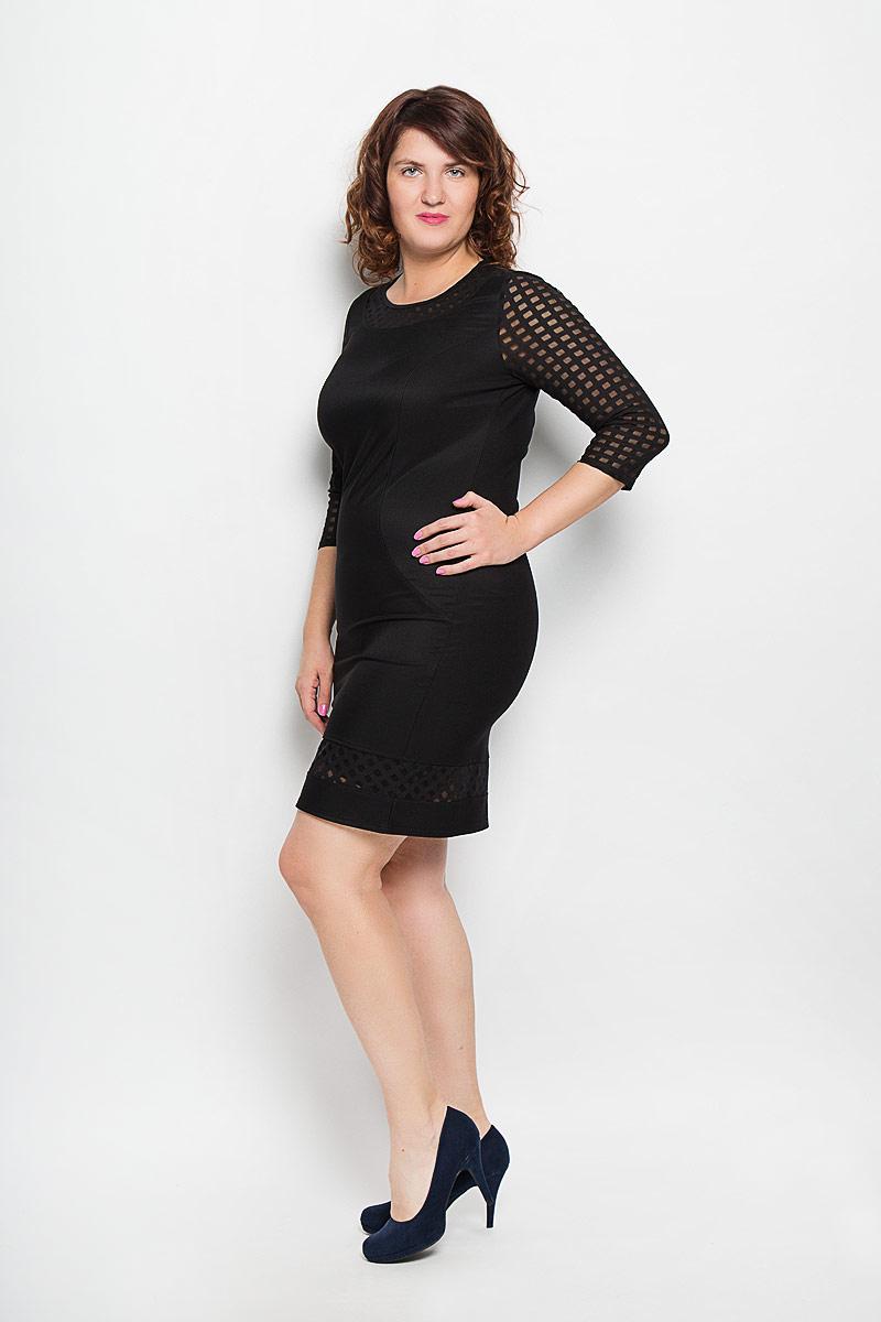 Платье. 837м837мЖенское платье Milana Style, изготовленное из высококачественного материала - находка для современной женщины, желающей выглядеть стильно и модно. Модель с круглым вырезом горловины и рукавами 3/4 оформлена вставками из полупрозрачного материала с геометрическим узором, рукава полностью оформлены этим материалом. Спереди платье дополнено вытачками. Такое платье несомненно вам понравится и послужит отличным дополнением к вашему гардеробу.