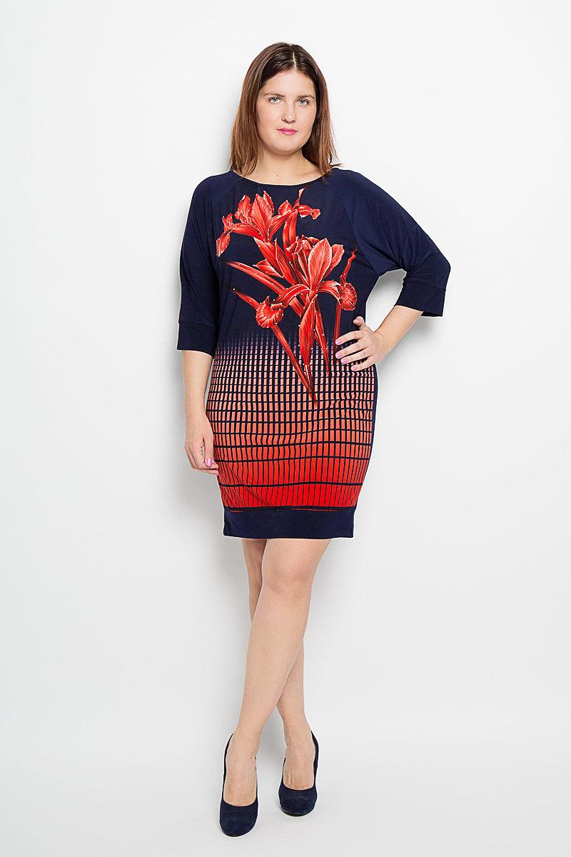 Платье. 875м875мПлатье Milana Style станет модным и стильным дополнением к вашему гардеробу. Выполненное из высококачественного материала, платье очень приятное на ощупь, не сковывает движений, обеспечивая комфорт. Модель с круглым вырезом горловины и рукавами-реглан 3/4 спереди оформлена цветочным принтом и стразами, по низу - геометрическим принтом. Сзади изделие застегивается на пуговицу. Эффектное платье поможет создать яркий и привлекательный образ, а также выгодно подчеркнет достоинства вашей фигуры.