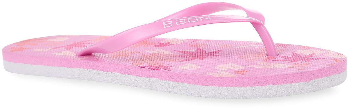 B405004Яркие женские сланцы от Baon очаруют вас с первого взгляда. Верх модели изготовлен из ПВХ и оформлен на ремешке названием бренда. Верхняя поверхность подошвы оформлена изображением листьев и фирменным логотипом. Ремешки с перемычкой гарантируют надежную фиксацию модели на ноге. Рифление на верхней поверхности подошвы предотвращает выскальзывание ноги. Рельефное основание подошвы обеспечивает уверенное сцепление с любой поверхностью. Удобные сланцы прекрасно подойдут для похода в бассейн или на пляж.