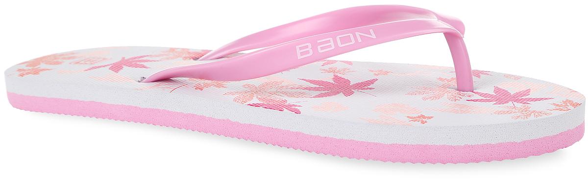 Сланцы женские. B405004B405004Яркие женские сланцы от Baon очаруют вас с первого взгляда. Верх модели изготовлен из ПВХ и оформлен на ремешке названием бренда. Верхняя поверхность подошвы оформлена изображением листьев и фирменным логотипом. Ремешки с перемычкой гарантируют надежную фиксацию модели на ноге. Рифление на верхней поверхности подошвы предотвращает выскальзывание ноги. Рельефное основание подошвы обеспечивает уверенное сцепление с любой поверхностью. Удобные сланцы прекрасно подойдут для похода в бассейн или на пляж.