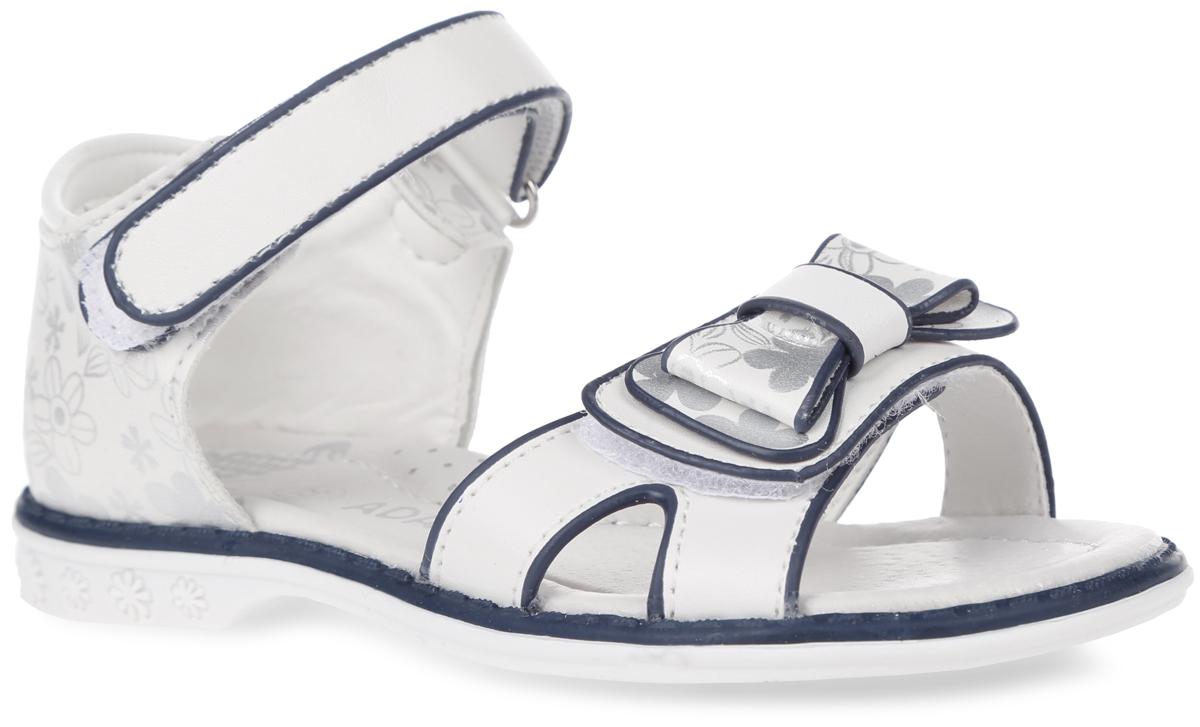 Босоножки для девочки. 60966096Прелестные босоножки от Adagio придутся по душе юной моднице! Модель изготовлена из искусственной кожи и оформлена цветочным принтом. Передний ремешок украшен декоративным бантиком. Ремешки с застежками-липучками надежно зафиксируют модель на ноге. Стелька из натуральной кожи дополнена супинатором с перфорацией, который обеспечивает правильное положение ноги ребенка при ходьбе, предотвращает плоскостопие. Подошва с рифлением гарантирует идеальное сцепление с любой поверхностью. Стильные босоножки - незаменимая вещь в гардеробе каждой девочки!