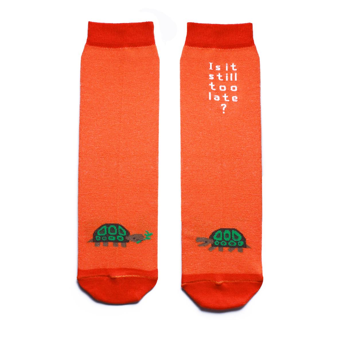ca1521Яркие женские носки Big Bang Socks изготовлены из высококачественного хлопка с добавлением полиамидных и эластановых волокон, которые обеспечивают великолепную посадку. Носки отличаются ярким стильным дизайном, они оформлены изображением черепахи и надписью: Is it still too late?. Удобная резинка идеально облегает ногу и не пережимает сосуды, усиленные пятка и мысок повышают износоустойчивость носка, а удлиненный паголенок придает более эстетичный вид. Дизайнерские носки Big Bang Socks - яркая деталь в вашем образе и оригинальный подарок для друзей и близких.