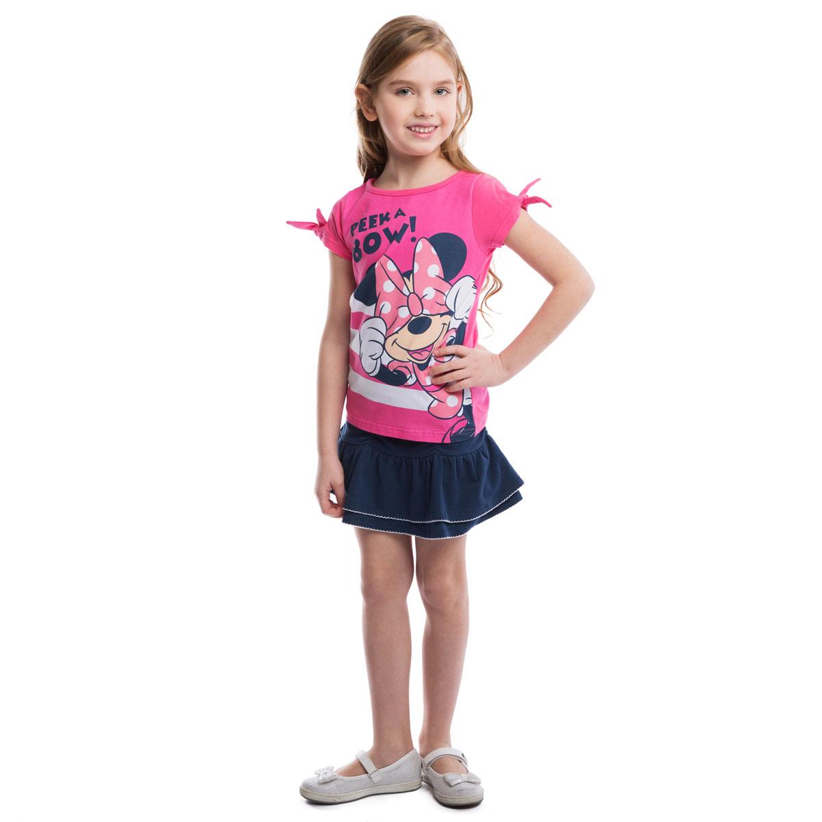 Футболка для девочки Disney. 962002962002Футболка для девочки PlayToday Disney идеально подойдет вашей маленькой моднице и станет отличным дополнением к ее гардеробу. Изготовленная из эластичного хлопка, она мягкая и приятная на ощупь, не сковывает движения ребенка и позволяет коже дышать, обеспечивая наибольший комфорт. Футболка с круглым вырезом горловины и короткими рукавами с завязками. Модель оформлена забавным принтом с изображением Минни-маус. В такой футболке ваша маленькая принцесса будет чувствовать себя комфортно, уютно и всегда будет в центре внимания!