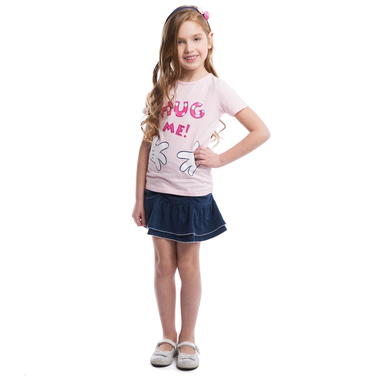 Футболка для девочки Disney. 962001962001Футболка для девочки PlayToday Disney идеально подойдет вашей маленькой моднице и станет отличным дополнением к ее гардеробу. Изготовленная из эластичного хлопка, она мягкая и приятная на ощупь, не сковывает движения ребенка и позволяет коже дышать, обеспечивая наибольший комфорт. Футболка с круглым вырезом горловины и короткими рукавами. Модель оформлена забавным принтом с изображением Минни-маус спереди и сзади. В такой футболке ваша маленькая принцесса будет чувствовать себя комфортно, уютно и всегда будет в центре внимания!