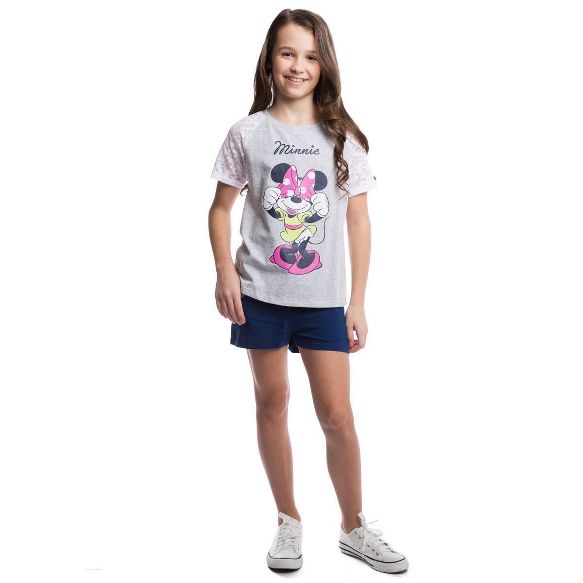 964002Стильная футболка оригинального кроя. Рукава и спинка выполнены из материала контрастного цвета с эффектом вытравки. По всей длине спинке располагается молния. Модель оформлена принтом с изображением Минни Маус.
