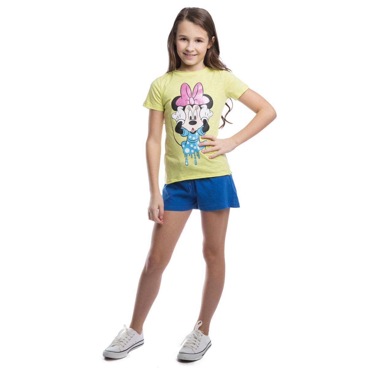 Футболка для девочек. 964001964001Легкая хлопковая футболка лимонно-лаймового цвета. Украшена принтом с Минни-маус. Глиттерный бантик будет сверкать и переливаться на солнце.