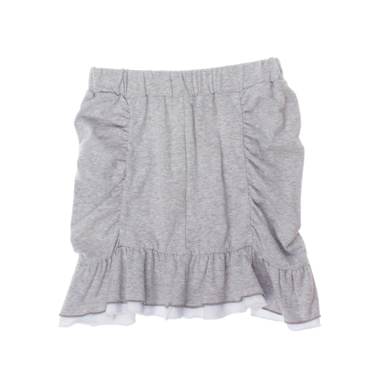 Юбка для девочек. 264019264019Мягкая хлопоквая юбка цвета серый меланж. Прилегающий силуэт, по центру стильная вставка с драпировкой. Цельнокройный пояс. Юбка хорошо сочетается с легкими туниками.