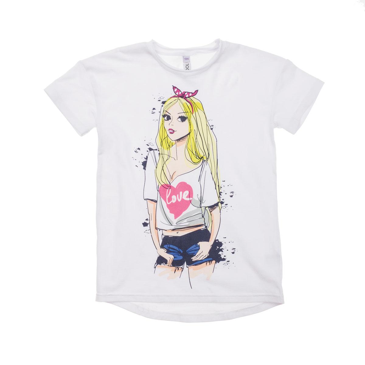 Футболка для девочек. 264017264017Мягкая хлопковая футболка белого цвета. Украшена ярким водным принтом. Хорошо смотрится и брюками, и с юбочками.