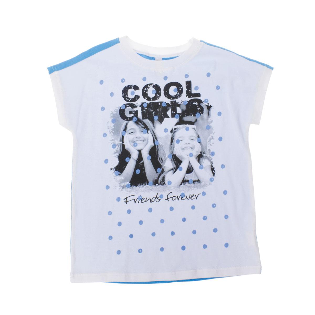 Футболка для девочек. 264014264014Мягкая хлопоквая футболка со стильный принтом. Спереди белая, сзади - гголубая. Цельнокройный обеспечивает дополнительное удобство.