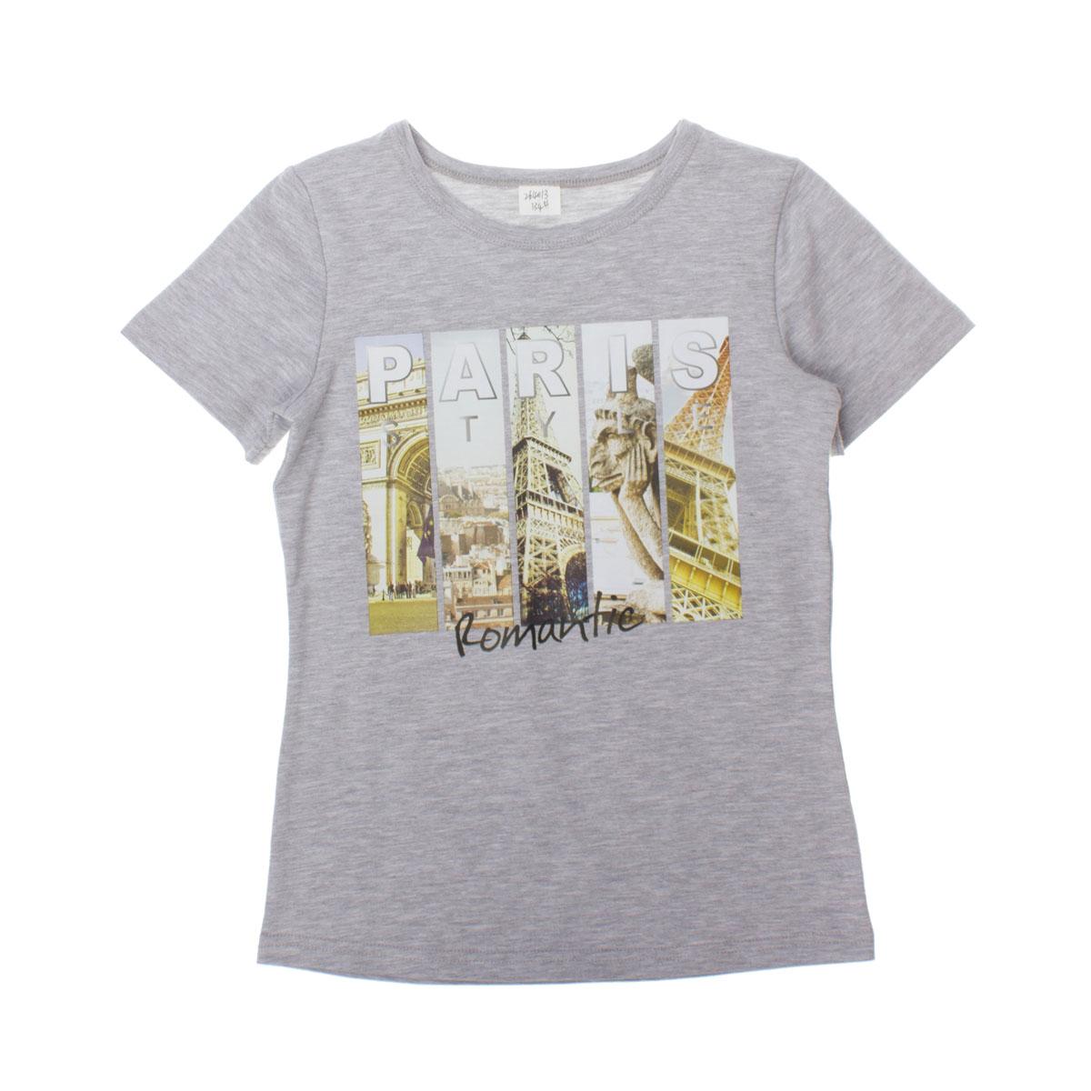 Футболка для девочек. 264013264013Стильная хлопковая футболка цвета серый меланж.Украшена резиновым фотопринтом с видами Парижа.