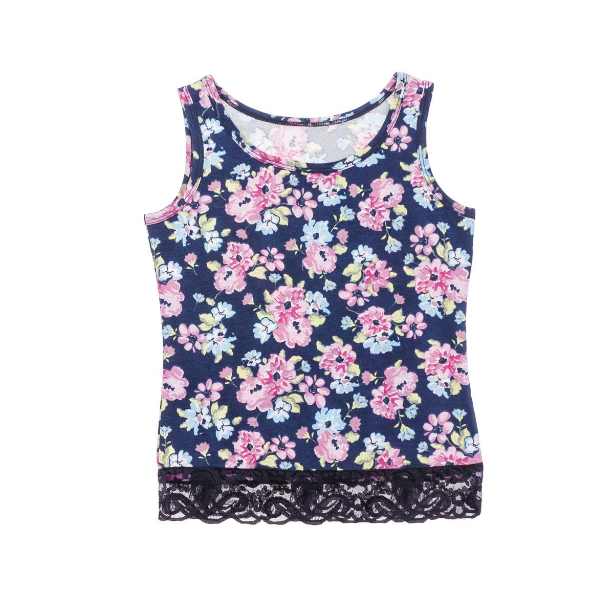 Майка для девочек. 264011264011Стильная майка темно-синего цвета в цветочек. Низ украшен кружевами. Хорошо смотрится и с юбочками, и с брюками.
