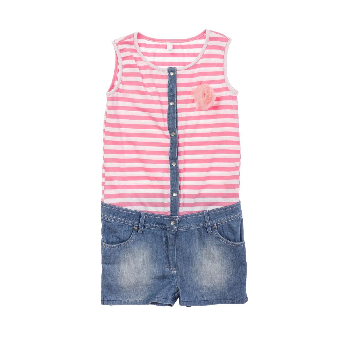 Полукомбинезон для девочек. 264006264006Стильный полукомбинезон. Выглядит как майка с джинсовыми шортами, но намного удобнее. Застегивается на перламутровые пуговки, шорты - на молнию и пуговку. Есть 4 кармашка и петельки для ремня.