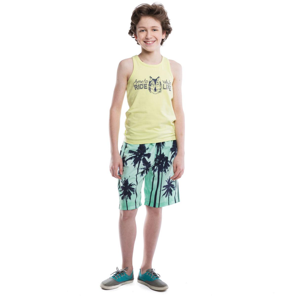 Майка для мальчиков. 263017263017Базовая майка-борцовка лимонно-лаймового цвета. Украшена водным принтом с волком, на спинке сверху - герб мотоклуба.
