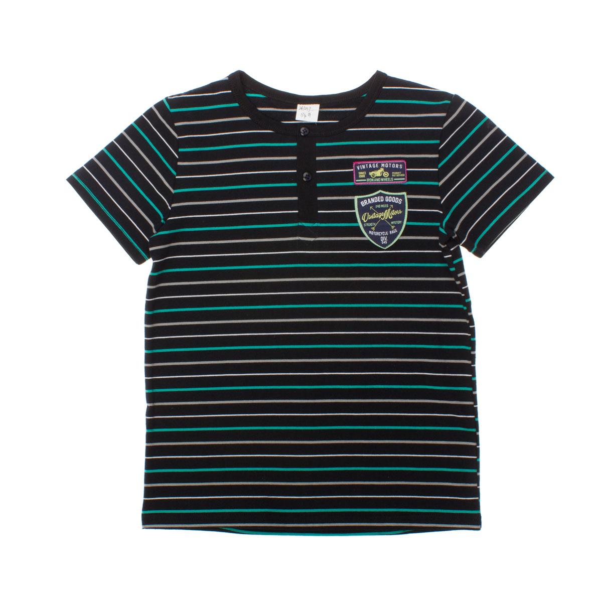 Футболка для мальчиков. 263013263013Стильная темно-синяя футболка с яркими полосками. Застежка-поло, воротник на мягкой резинке. Украшена аппликациями с мотоциклами.