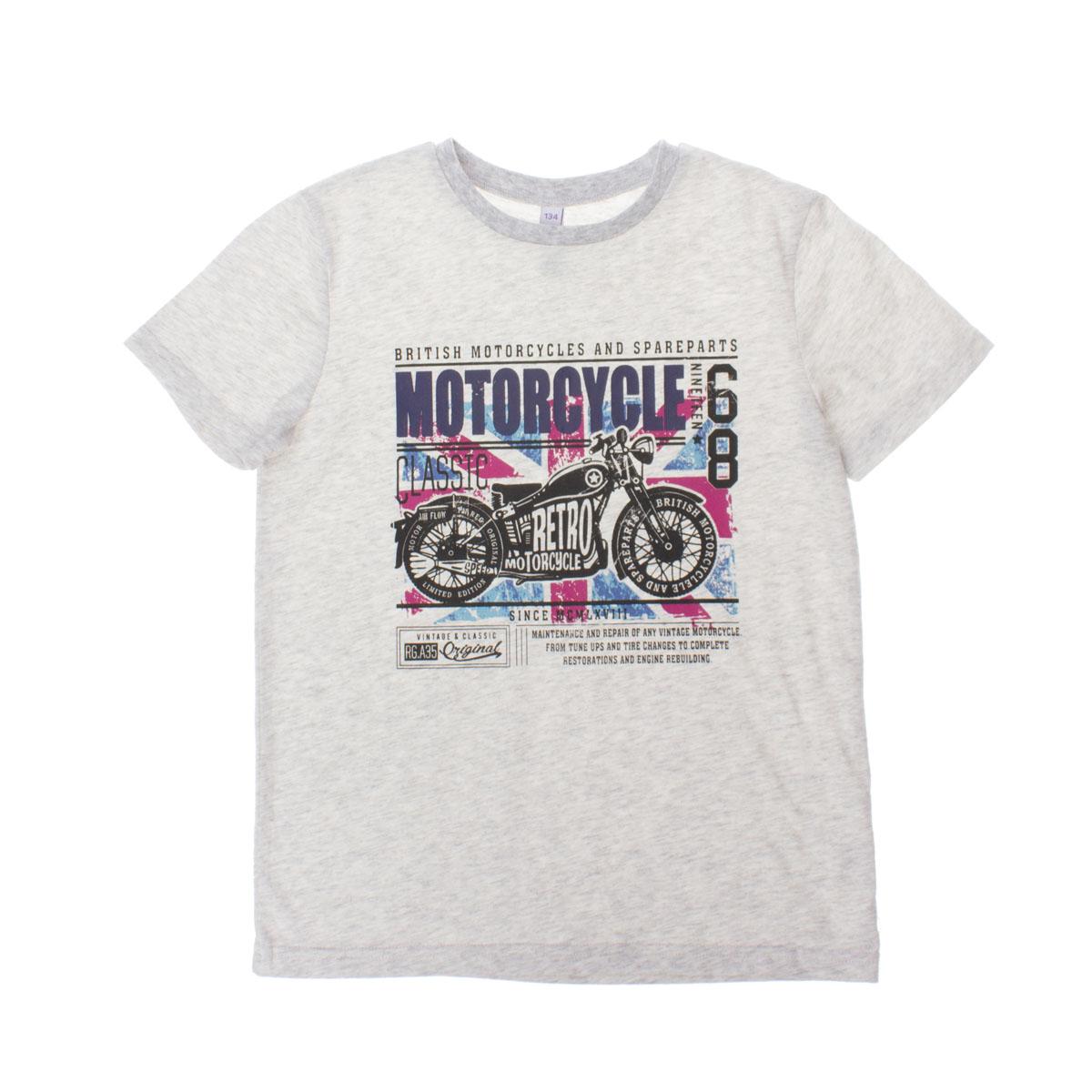 263007Мягкая хлопковая футболка цвета серый меланж. Воротник на резинке. Украшена резиновым принтом с мотоциклом.