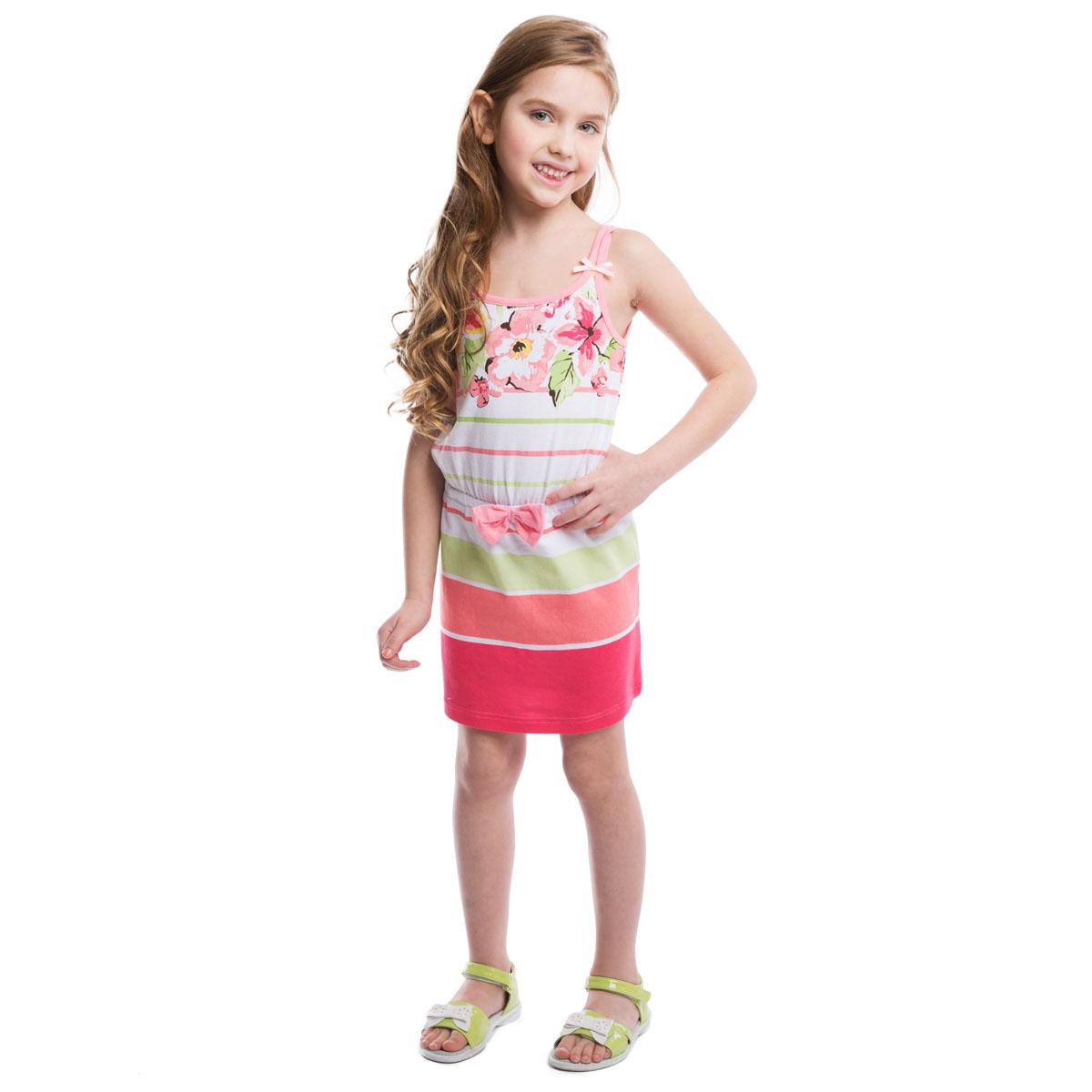 Сарафан262018Очаровательный сарафан для девочки PlayToday идеально подойдет вашей маленькой моднице. Изготовленный из эластичного хлопка, он необычайно мягкий и приятный на ощупь, не сковывает движения и позволяет коже дышать, не раздражает даже самую нежную и чувствительную кожу ребенка, обеспечивая наибольший комфорт. Сарафан прямого кроя с тонкими двойными бретелями и круглым вырезом горловины оформлен принтом в полоску и нежным цветочным рисунком. Бретельки декорированы маленькими атласными бантиками. На талии - эластичная скрытая резинка, украшенная трикотажным бантом. Современный дизайн и расцветка делают этот сарафан модным и стильным предметом детского гардероба.