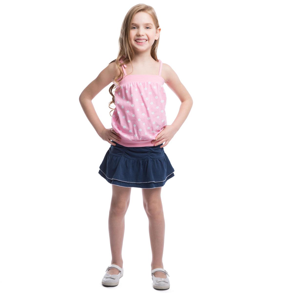 Топ для девочки. 262017262017Стильный топ для девочки PlayToday идеально подойдет вашей моднице и станет прекрасным вариантом для жаркого летнего дня. Изготовленный из эластичного хлопка, он мягкий и приятный на ощупь, не сковывает движения и позволяет коже дышать, не раздражает даже самую нежную и чувствительную кожу ребенка, обеспечивая наибольший комфорт. Топ на тонких бретелях-завязках оформлен принтом в горох. Верх и низ изделия дополнены широкими эластичными резинками. В таком топе ваша принцесса будет чувствовать себя уютно и комфортно и всегда будет в центре внимания!