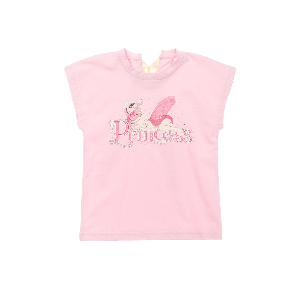 Футболка для девочек. 262014262014Мягкая хлопковая футболка клубнично-розового цвета. Украшена резиновым принтом с феей, глиттером и стразами.