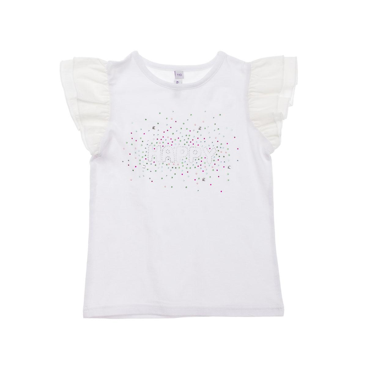 Футболка для девочек. 262013262013Легкая хлопковая футболка белого цвета. Украшена яркими стразами. Воздушные рукава придают кокетства.