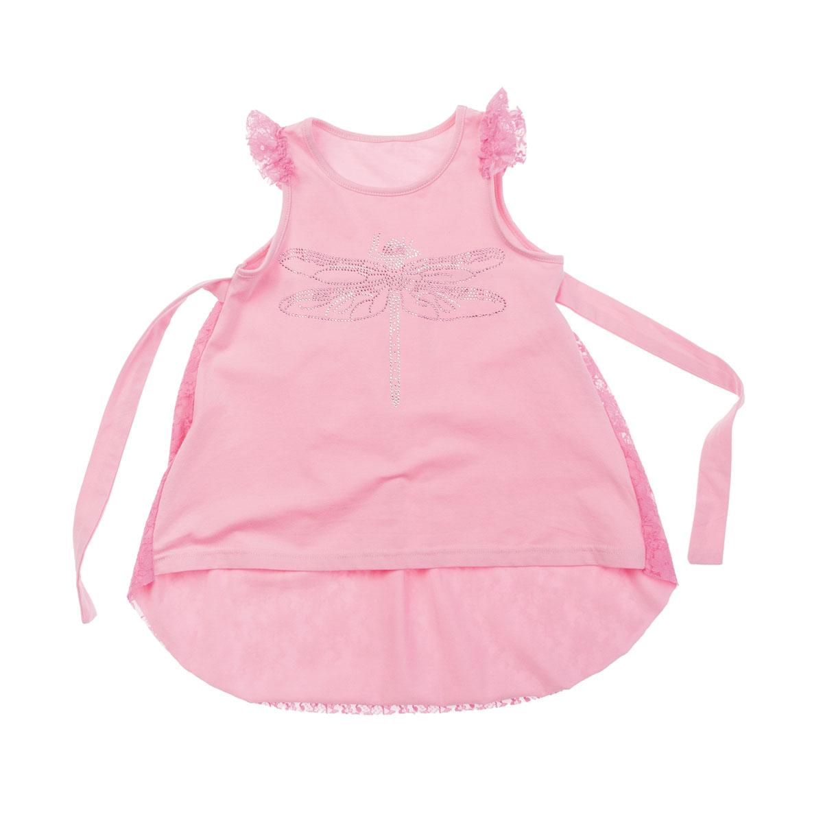 Топ для девочки. 262011262011Яркий топ для девочки PlayToday идеально подойдет вашей маленькой моднице. Изготовленный из эластичного хлопка, он необычайно мягкий и приятный на ощупь, не сковывает движения и позволяет коже дышать, не раздражает даже самую нежную и чувствительную кожу ребенка, обеспечивая ему наибольший комфорт. Топ трапециевидного кроя с круглым вырезом горловины и короткими рукавами-крылышками спереди декорирован аппликацией из страз в виде стрекозы. Вырез горловины дополнен эластичной трикотажной бейкой. Спинка модели, оформленная эффектом вытравки, удлинена и закруглена. По бокам имеются завязки. Современный дизайн и расцветка делают этот топ модным и стильным предметом детского гардероба. В нем ваша дочурка будет чувствовать себя уютно и комфортно и всегда будет в центре внимания!