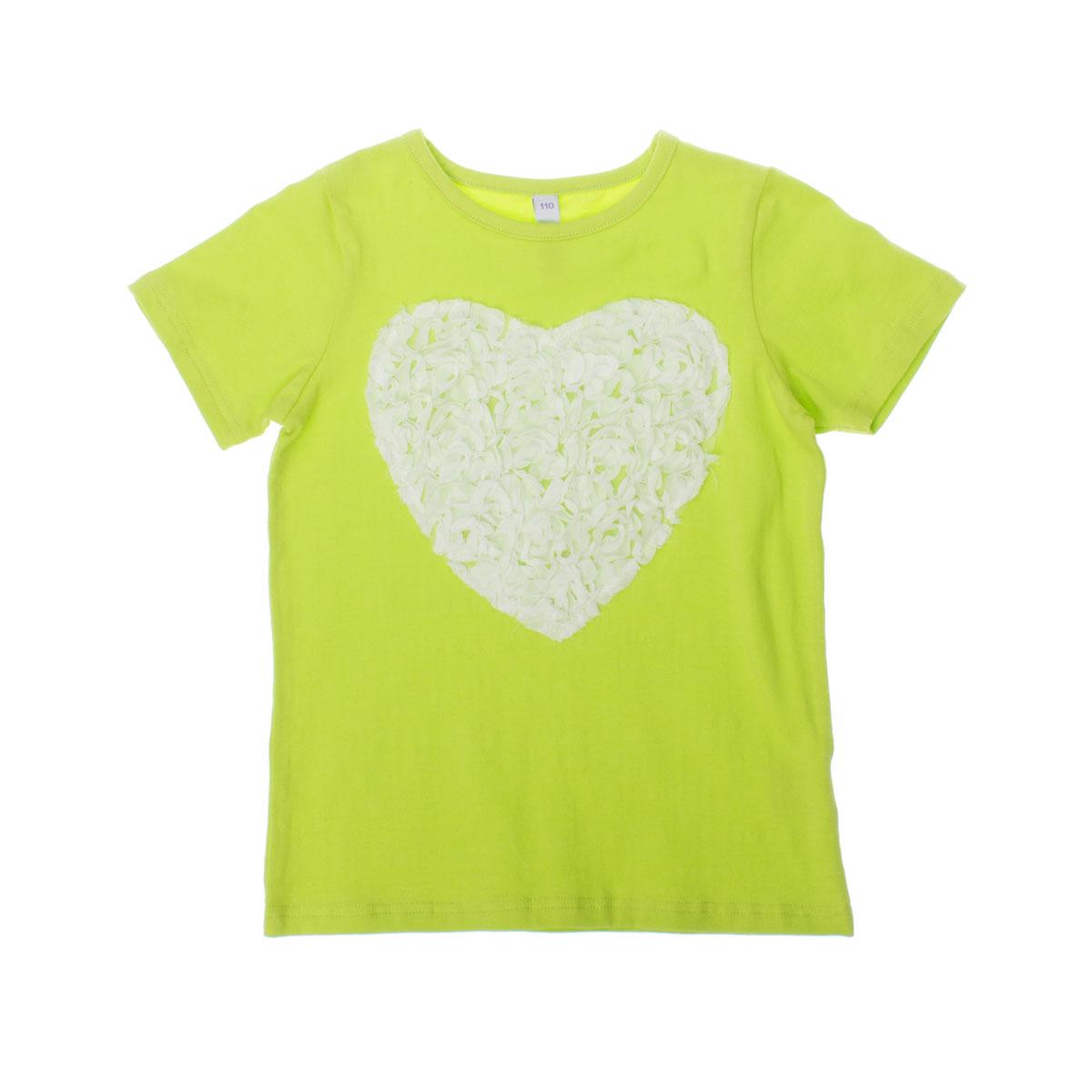 Футболка для девочек. 262010262010Мягкая хлопковая футболка салатового цвета. Украшена кружевным сердечком.