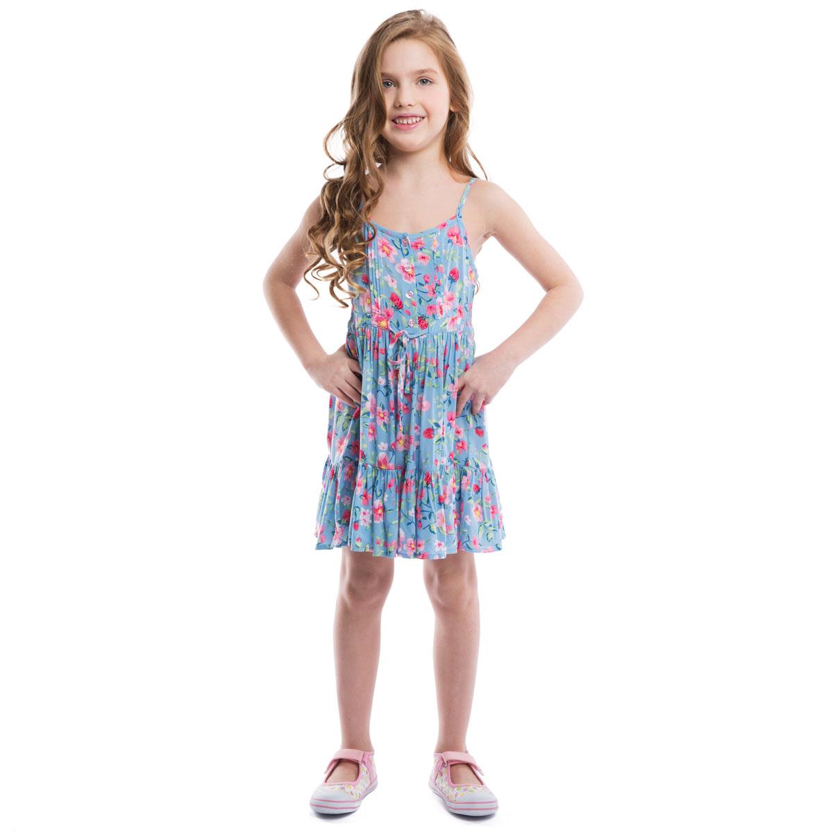 Сарафан262004Воздушный сарафан для девочки PlayToday идеально подойдет вашей маленькой моднице. Изготовленный из вискозы, он мягкий и приятный на ощупь, не сковывает движения и позволяет коже дышать, не раздражает даже самую нежную и чувствительную кожу ребенка, обеспечивая наибольший комфорт. Сарафан трапециевидного кроя на тонких регулируемых бретелях оформлен нежным цветочным принтом. Модель спереди застегивается на пуговицы до линии талии. На груди имеются изящные пришитые складки. На спинке модель присборена на тонкие эластичные резинки. Спереди сарафан дополнен скрытыми завязками. Пышная юбка с пришитой к подолу широкой оборкой придает изделию воздушность. Оригинальный дизайн и модная расцветка делают этот сарафан незаменимым предметом детского гардероба. В нем ваша маленькая леди всегда будет в центре внимания!