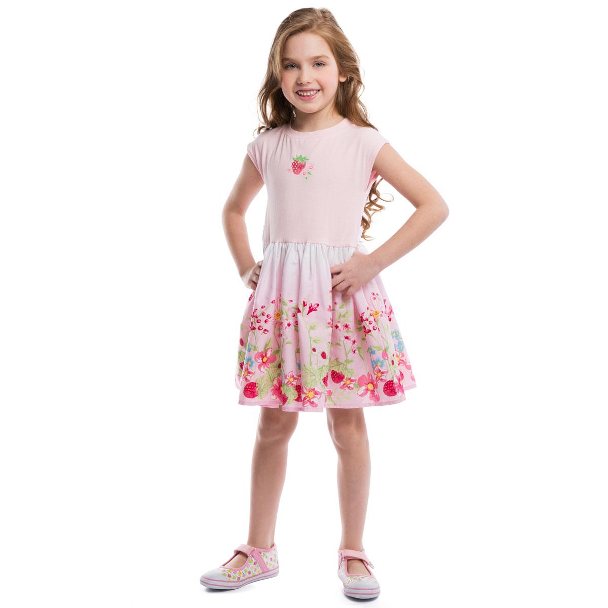 262003Яркое платье для девочки PlayToday идеально подойдет вашей маленькой моднице. Верх изготовлен из эластичного хлопка, а юбка из натурального хлопка, оно необычайно мягкое и приятное на ощупь, не сковывает движения малышки и позволяет коже дышать, не раздражает даже самую нежную и чувствительную кожу ребенка, обеспечивая наибольший комфорт. Платье с пышной юбкой, цельнокроеными рукавами и круглым вырезом горловины на талии дополнено эластичной резинкой. На спинке расположен широкий пояс, завязывающийся в очаровательный бант. Модель оформлена цветочно-ягодным принтом. Оригинальный современный дизайн и модная расцветка делают это платье модным и стильным предметом детского гардероба. В нем ваша малышка будет чувствовать себя уютно и комфортно и всегда будет в центре внимания!
