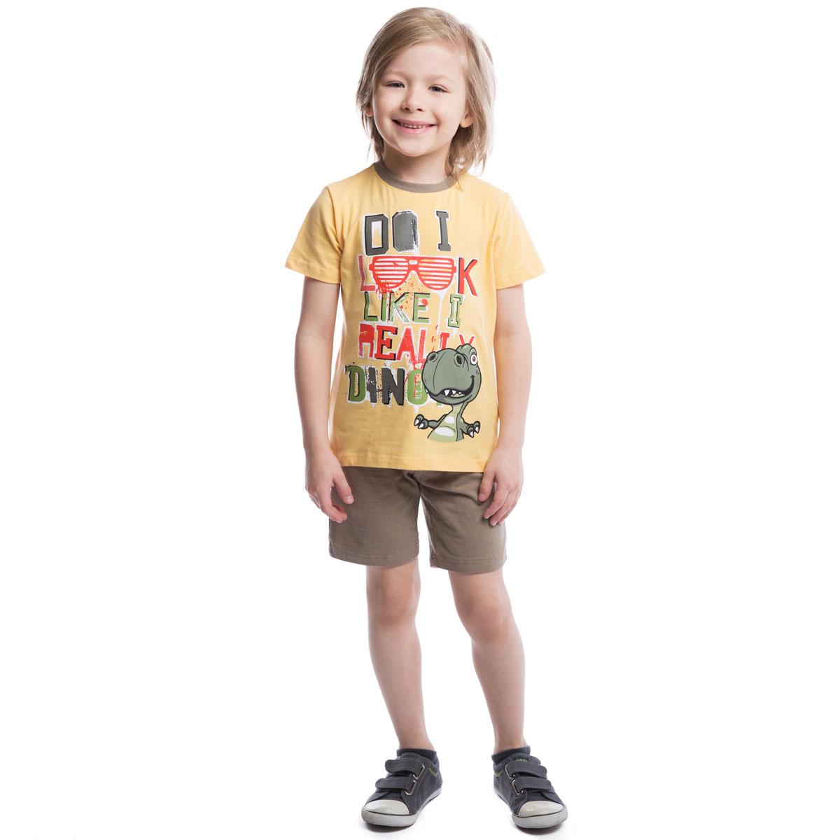 261022Комплект для мальчика PlayToday, состоящий из футболки и шорт, идеально подойдет вашему ребенку. Изготовленный из эластичного хлопка, он необычайно мягкий и приятный на ощупь, не сковывает движения и позволяет коже дышать, не раздражает даже самую нежную и чувствительную кожу ребенка, обеспечивая ему наибольший комфорт. Футболка с короткими рукавами и круглым вырезом горловины на груди оформлена оригинальной термоаппликацией. Горловина дополнена мягкой эластичной резинкой контрастного цвета. Шорты на талии имеют широкую эластичную резинку на кулиске, благодаря чему они не сдавливают животик ребенка и не сползают. Оригинальный дизайн и расцветка делают этот комплект незаменимым предметом детского гардероба. В нем вашему маленькому мужчине будет комфортно и уютно.