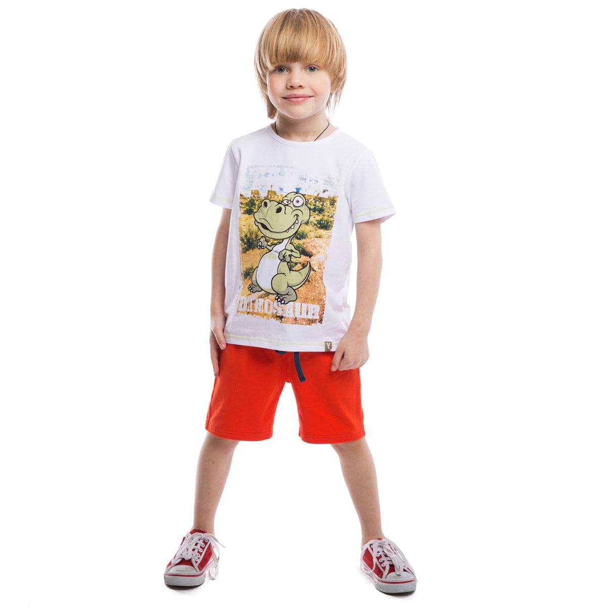 Шорты для мальчиков. 261021261021Комплект из двух пар хлопковых шорт. Цвета - темно-синий и оранжевый. Однотонные, хорошо смотрятся с любыми футболками. Пояс на мягкой резинке, дополнительно регулируется шнурком.