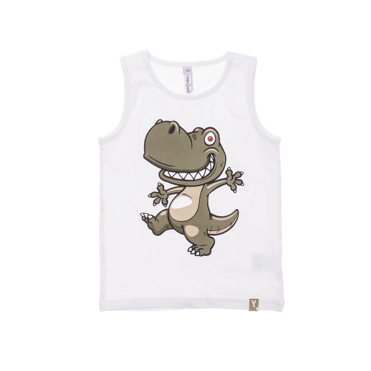 Майка для мальчиков. 261018261018Легкая хлопковая майка белого цвета. Водный принт с динозавром понравится маленькому первооткрывателю.