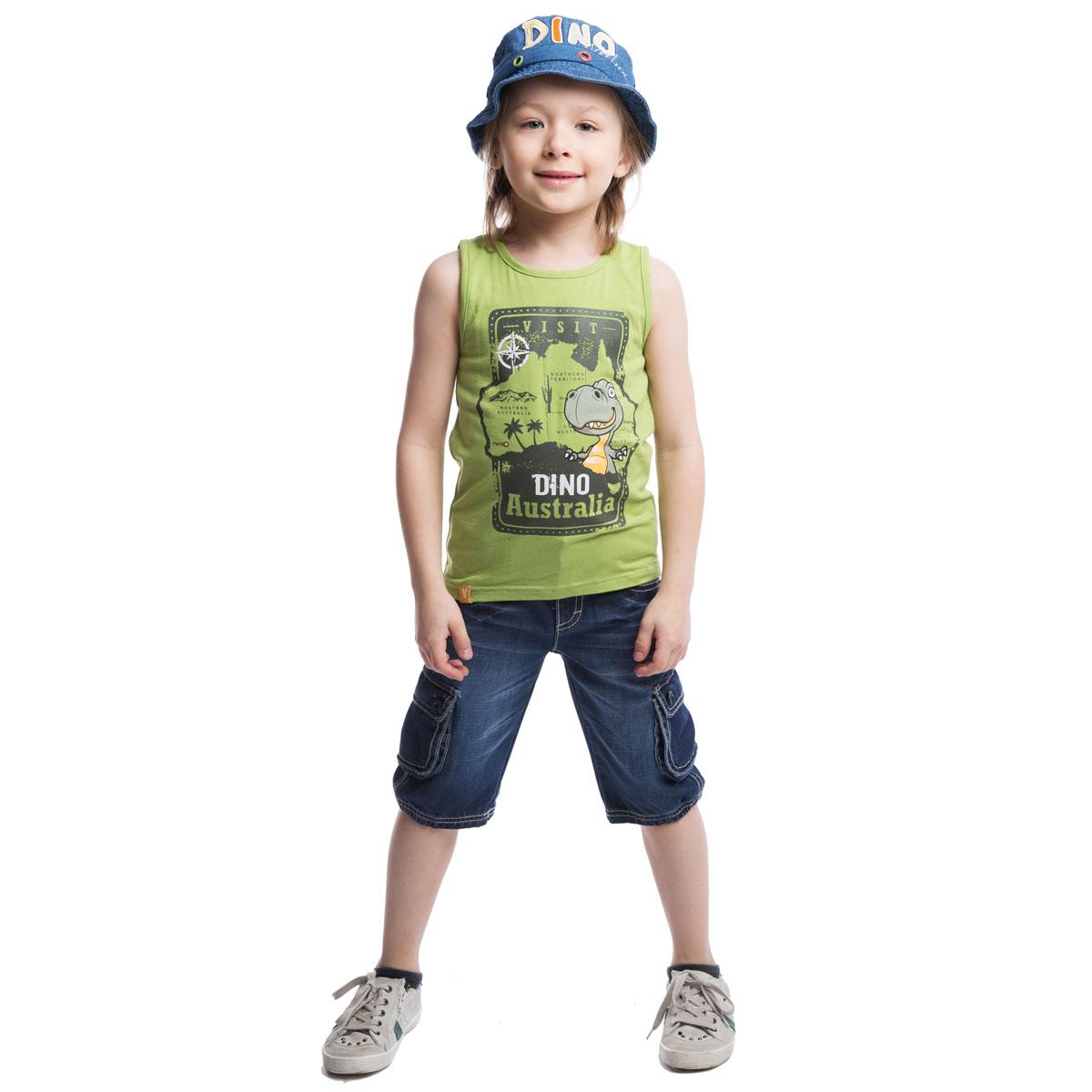 Майка для мальчика. 261016261016Легкая майка для мальчика PlayToday станет отличным дополнением к детскому гардеробу. Изготовленная из эластичного хлопка, она мягкая и приятная на ощупь, не сковывает движения и позволяет коже дышать. Майка с круглым вырезом горловины оформлена спереди крупным принтом с изображением динозавра и надписью Visit Dino Australia. Изделие украшено небольшой текстильной нашивкой. Такая майка несомненно понравится маленькому первооткрывателю. В ней ребенку будет удобно и комфортно.
