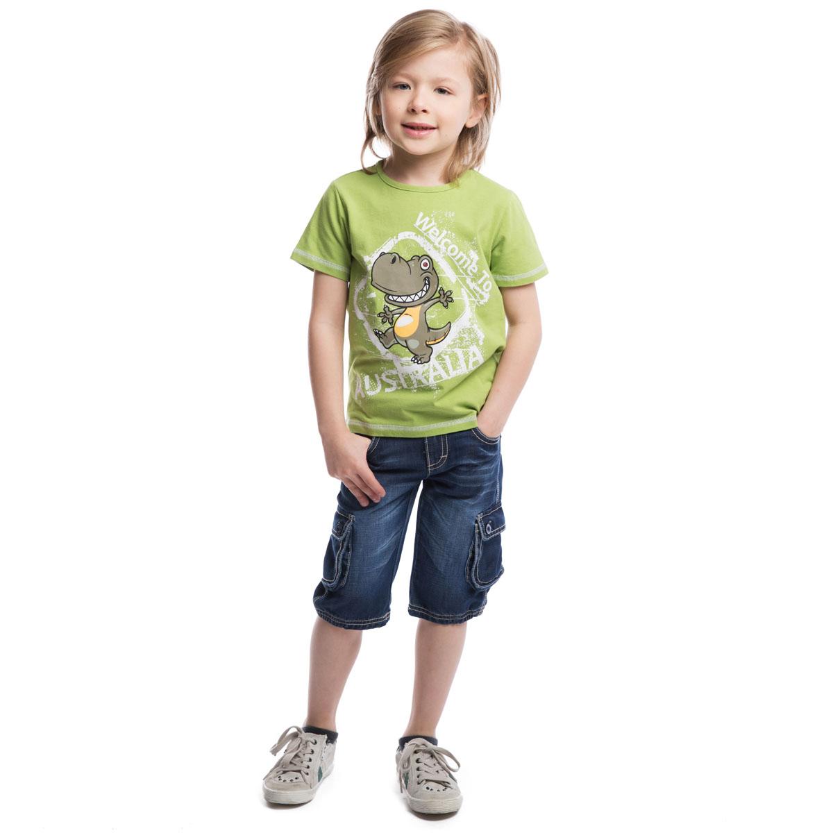 Футболка для мальчика. 261011261011Футболка для мальчика PlayToday идеально подойдет маленькому моднику и станет отличным дополнением к его гардеробу. Изготовленная из эластичного хлопка, она мягкая и приятная на ощупь, не сковывает движения ребенка и позволяет коже дышать, обеспечивая наибольший комфорт. Футболка с круглым вырезом горловины и короткими рукавами оформлена резиновым принтом виде динозавра и надписью Welcome to Australia. Воротник дополнен мягкой трикотажной резинкой. Снизу имеется небольшая текстильная нашивка с логотипом бренда. В такой футболке ребенок будет чувствовать себя комфортно, уютно и всегда будет в центре внимания!